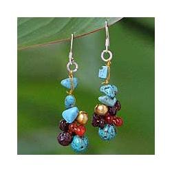 Pearl and Garnet 'Dawn Sky' Cluster Earrings (Thailand)