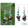 Pearl and Garnet 'Dawn Sky' Cluster Earrings (Thailand)