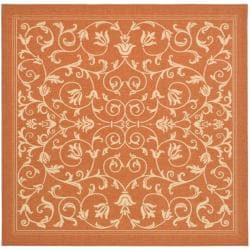 Safavieh Indoor/ Outdoor Resorts Terracotta/ Natural Rug (6' 7 Square)