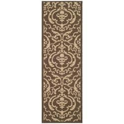 Indoor/ Outdoor Bimini Chocolate/ Natural Runner (2'4 x 9'11)