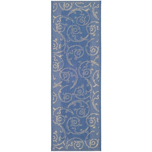 Safavieh Indoor/ Outdoor Oasis Blue/ Natural Runner (2'4 x 9'11)
