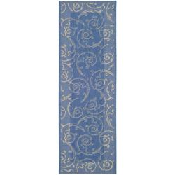 Safavieh Indoor/ Outdoor Oasis Blue/ Natural Runner (2'4 x 9'11)