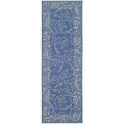 Indoor/ Outdoor Oasis Blue/ Natural Runner (2'4 x 9'11)