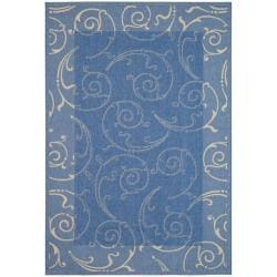 Indoor/ Outdoor Oasis Blue/ Natural Rug (9' x 12')