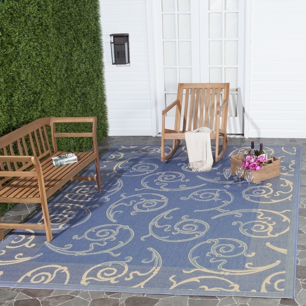 Safavieh Indoor/ Outdoor Oasis Blue/ Natural Rug (9' x 12')
