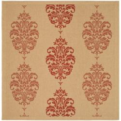 Indoor/ Outdoor St. Martin Natural/ Red Rug (6' 7 Square)