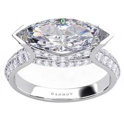 Danhov 14k Gold Marquise Diamond and CZ Center 2/5ct TDW Ring (G, VS2)