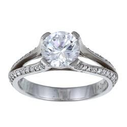 Danhov 14k Gold 1/3ct TDW Diamond and CZ Designer Ring (G, VS2)