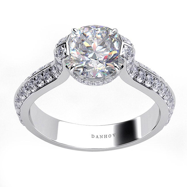 Danhov 14k Gold 2/5ct TDW Diamond and CZ Center Engagement Ring (G, VS2)