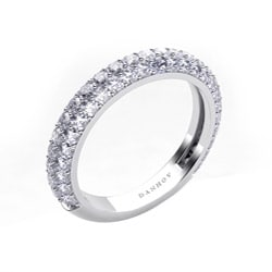 Danhov 18k White Gold 1ct TDW Pave Double Row Diamond Wedding Band (G, VS2)