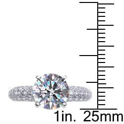 Danhov 18k Gold 1ct TDW Diamond and CZ Center Solitaire Engagement Ring (G, VS2)