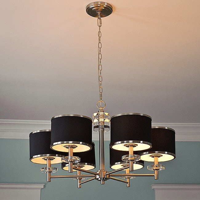 "31"" Diameter 6-light Nickel Chandelier"