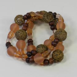 Wood and Wire Treasured Peace Salmon Bracelet (India)