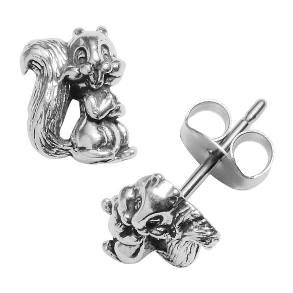 Journee Collection Sterling Silver Squirrel Stud Earrings