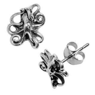 Journee Collection Sterling Silver Octopus Stud Earrings