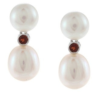 14k White Gold Double White Freshwater Pearl and Garnet Earrings (7-8mm, 8-9mm)