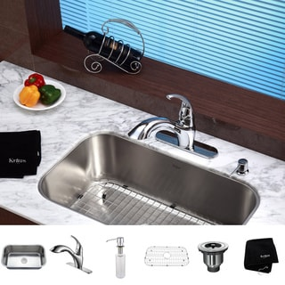 Kraus Stainless-Steel Undermount Kitchen Sink/Chrome Faucet/Soap Dispenser