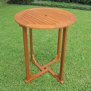 International Caravan Royal Tahiti Yellow Balau Hardwood Bar-height Round 4-leg Table