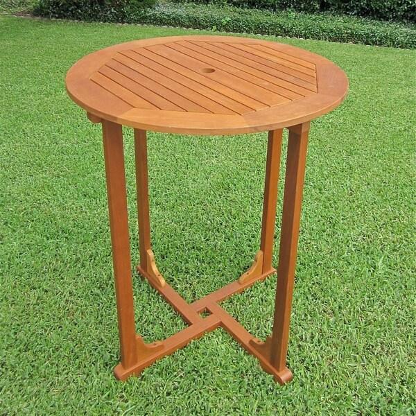 International Caravan Royal Tahiti Yellow Balau Hardwood Bar-height Round 4-leg Table