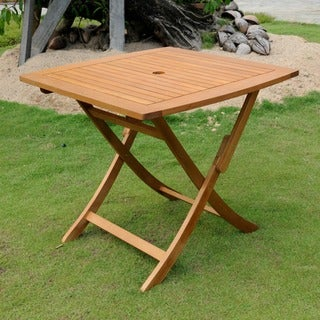 International Caravan Royal Tahiti Yellow Balau Hardwood Square-round Folding Table