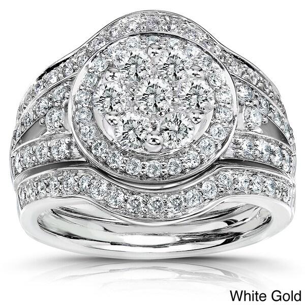 Annello 14k Gold 1 1/8ct TDW Diamond Halo Bridal Ring Set (G-H, I1-I2)