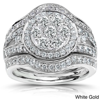 Annello 14k Gold 1 1/8ct TDW Diamond Halo Bridal Ring Set (G-H, I1-I2)
