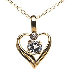 10k Yellow Gold and Aquamarine Heart Necklace