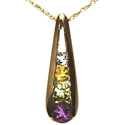 10k Gold Amethyst, Peridot, Citrine and White Topaz Journey Necklace
