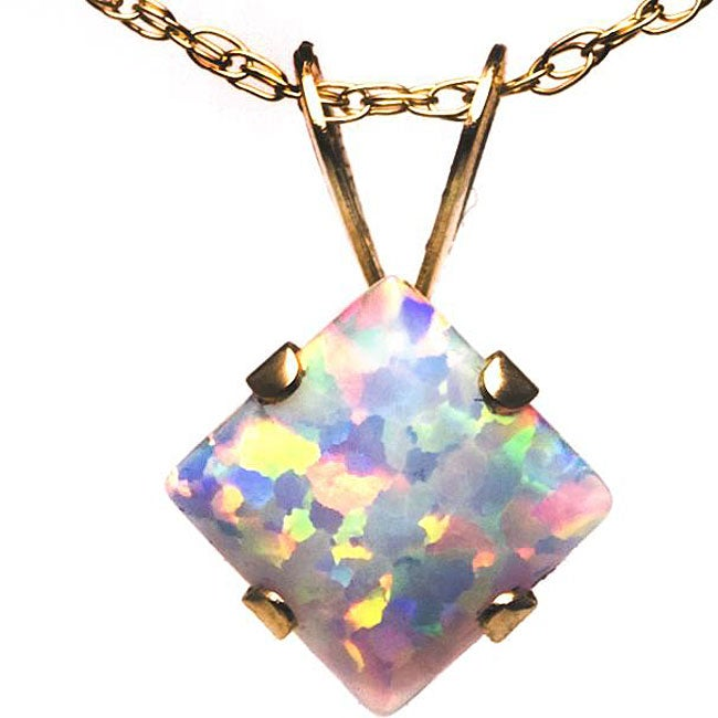10k Yellow Gold Square-cut Created Opal Princess Necklace