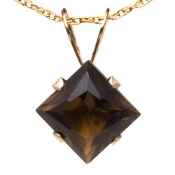 10k Yellow Gold Square-cut Smokey Quartz Necklace