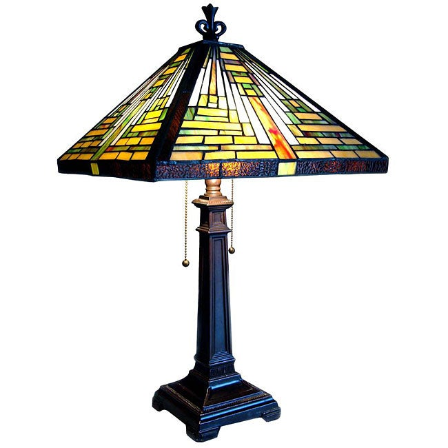 tiffany style mission table lamp 12935663 shopping. Black Bedroom Furniture Sets. Home Design Ideas