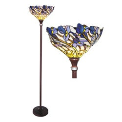 Tiffany-style Iris Bronze Torchiere Lamp