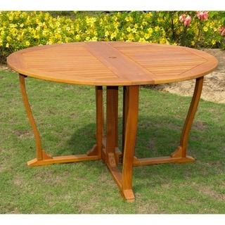 International Caravan Royal Tahiti Yellow Balau Hardwood 51.5-inch Outdoor Round Gateleg Table