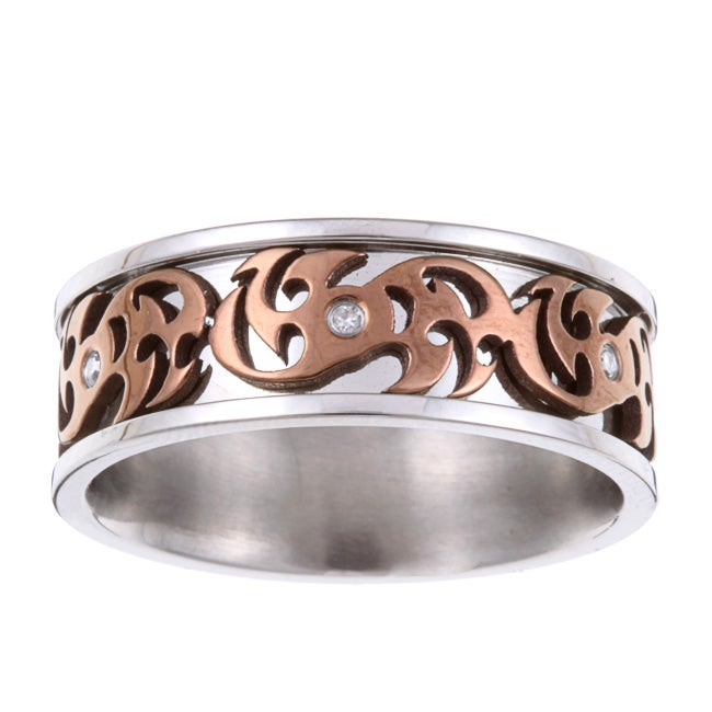 Stainless Steel Diamond Accent Brown Scrollwork Band