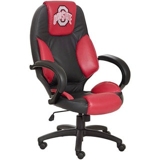 Officially Licensed NCAA Logo Red-and-black Leather Office Chair