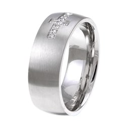Stainless Steel Men's Diamond Accent Cross Band