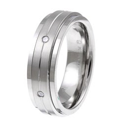 Titanium Men's 1/5ct TDW Diamond Spinner Wedding Band (H-I, I3)