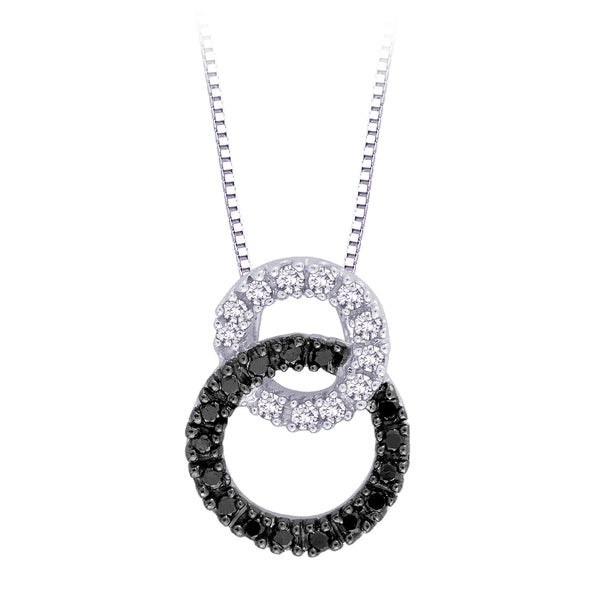 10k White Gold 1/5ct TDW Black and White Diamond Necklace (H, I2-I3)