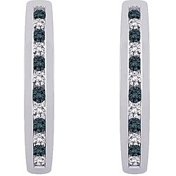 10k White Gold 1/4ct TDW Blue and White Diamond Hoop Earrings (H, I3)