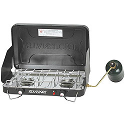 Stansport Two-burner Propane Windshield Camping Stove with Drip Pan