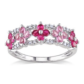 Miadora 10k White Gold Created Ruby, Pink Sapphire, Diamond Ring (HI, I2-I3)
