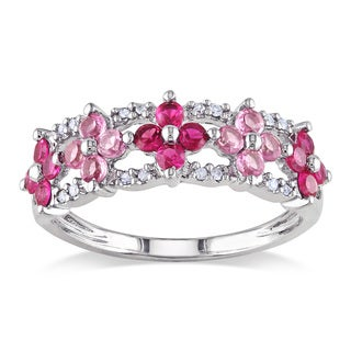 Miadora 10k White Gold Created Ruby, Pink Sapphire, Diamond Ring (HI, I2-I3)