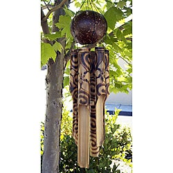 Bamboo Burnt Hibyscus Wind Chime (Indonesia)