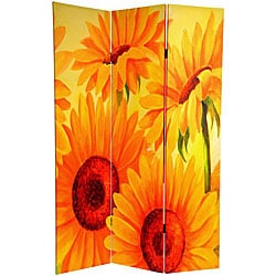 Canvas Double-sided 6-foot Poppies and Sunflowers Room Divider (China)