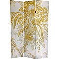 Canvas Double-sided 6-foot Neutral Floral Room Divider (China)