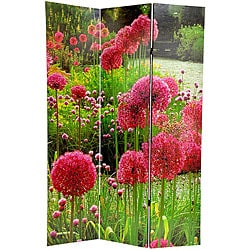 Canvas Pompom/ Snapdragon Double-sided 6-foot Room Divider (China)