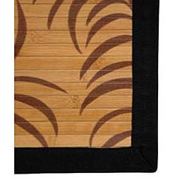 Asian 'Tropical Leaf' Bamboo Rug (5' x 8')