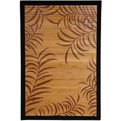 Asian 'Tropical Leaf' Bamboo Rug (2' x 3')