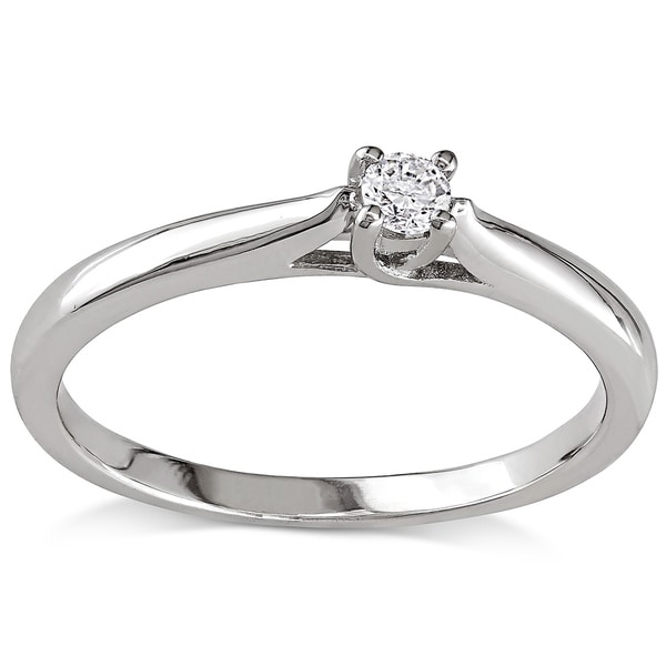Miadora Sterling Silver 1/10ct TDW Diamond Solitaire Promise Ring (H-I, I2-I3)