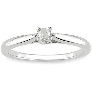 M by Miadora Sterling Silver 1/10ct TDW Diamond Solitaire Promise Ring (H-I, I2-I3)